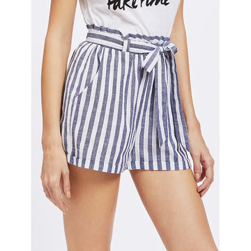 Frill Waist Self Belted Shorts - Fashiontage