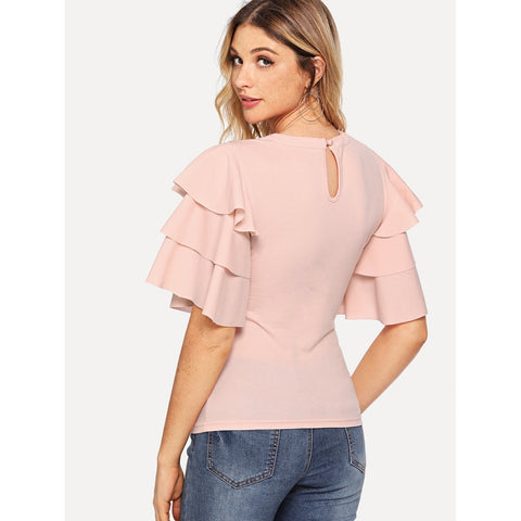 Tops - Women's Trendy Pink Layered Sleeve T-Shirt