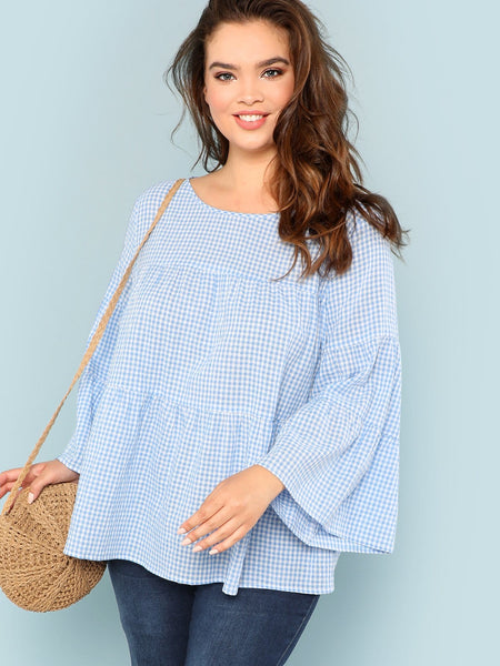 Bell Size Blue Sleeve Plaid Top