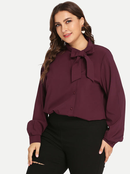 Plus Size Burgundy Solid Self-Tie Bow Top