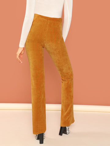 Leggings - Women's Trendy Mustard Corduroy Rib Knit Flared Leg Mid Rise Pant
