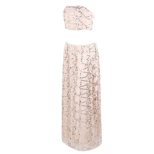 Beige Sequin Party Dress