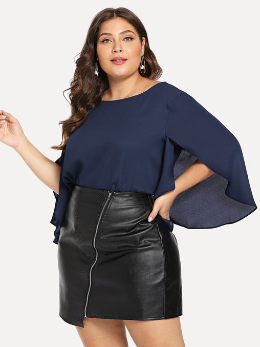 Plus Size Navy Blue Overlap Sleeve Tunic Top