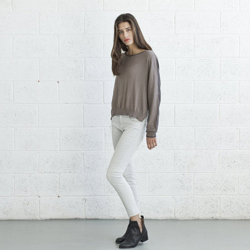 Brown Scoop Neck Cotton Sweater