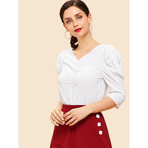 Blouses - Women's Trendy Keyhole Back V-Neck Ruched Blouse