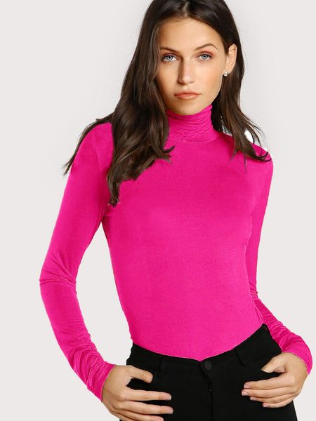 Neon Pink High Neck Glitter T-Shirt
