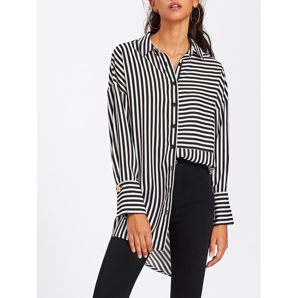 b516302dd Black And White Striped Shirt Womens Plus Size | Saddha