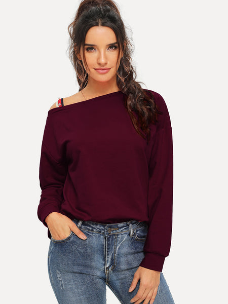 Burgundy Pearl Beaded Asymmetrical Neck Sweater
