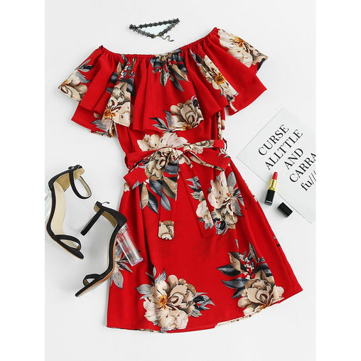 Red Floral Print Layered A Line Dress With Belt