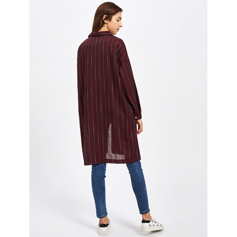 Burgundy Striped Long Shirt With Chest Pocket