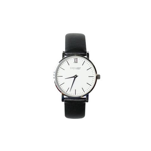 Black Crystal Leather Strap Watch