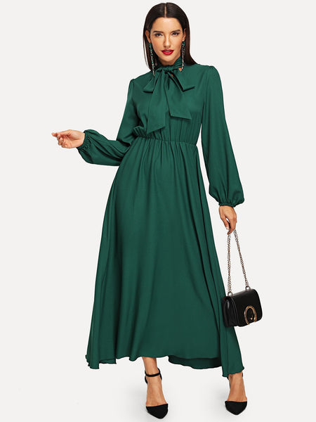 Green Tie Neck Long Sleeve Maxi Dress