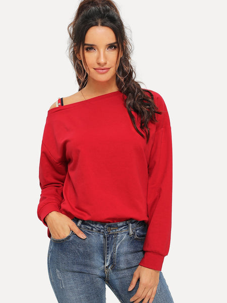 Red Pearls Beaded Asymmetrical Neck Sweater
