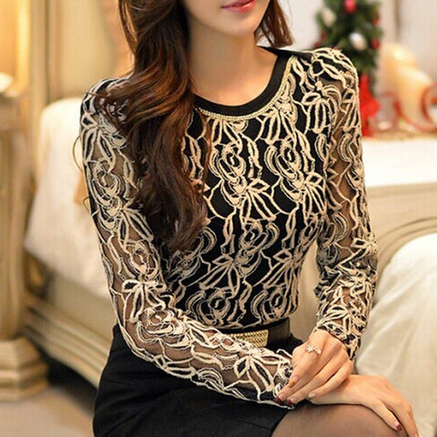 Plus Size Tops - Women's Trendy Plus Size Elegant Vintage Shirt Long Sleeve Black Lace Chiffon Blouse