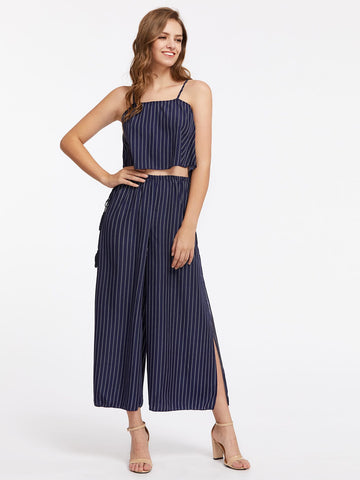 Wide Leg Pants - Women's Trendy Navy Vertical Striped Cami Top With Split Wide Leg Pants