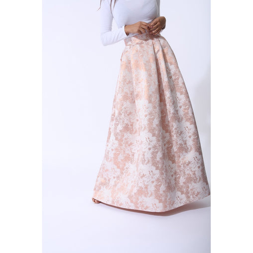Rose Gold Pleated Short Maxi Skirt - Fashiontage