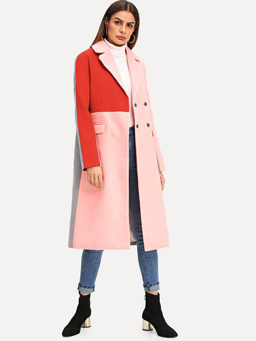 Multicolor Colorblock Double Breasted Coat