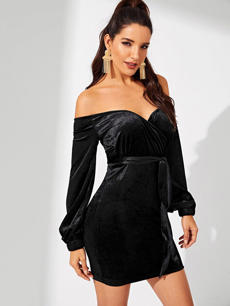 Black Off Shoulder Velvet Dress