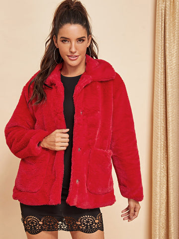 Bikinis - Women's Trendy Red Open Front Faux Fur Teddy Coat