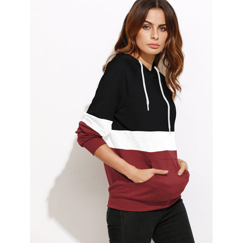 Multicolor Hooded Long Sleeve Pullover Top
