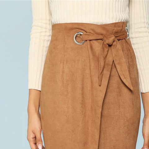 Skirts - Women's Trendy Brown Split Knee Length Pencil Skirt