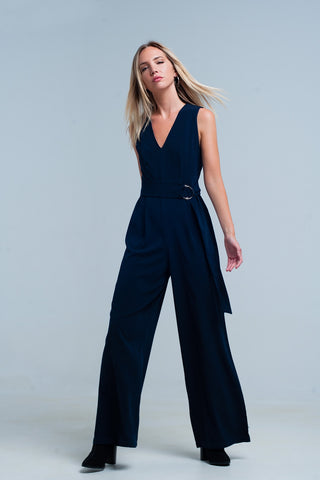 Jumpsuits - Women's Trendy Navy V-neck Jumpsuit With A Belt
