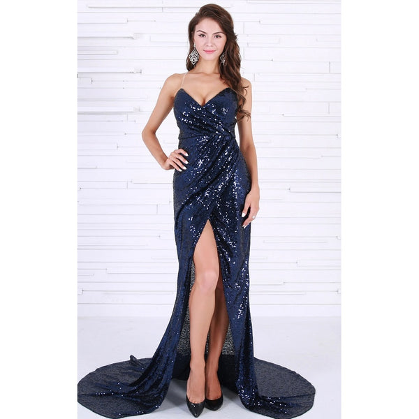 Navy Blue Sleeveless Sequin Cocktail Dress