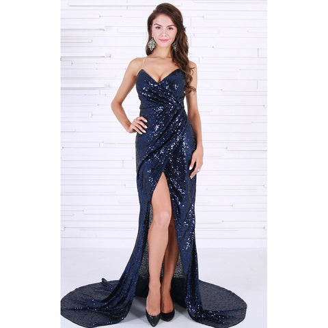Day Dresses - Women's Trendy Navy Blue Sleeveless Sequin Cocktail Dress