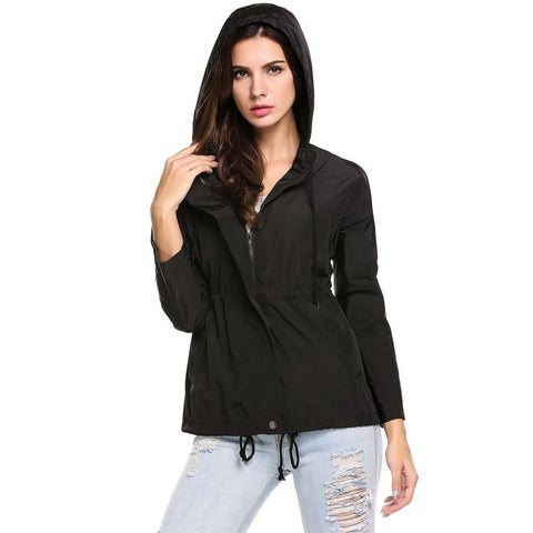 Jackets - Women's Trendy Black Hooded Casual Jacket