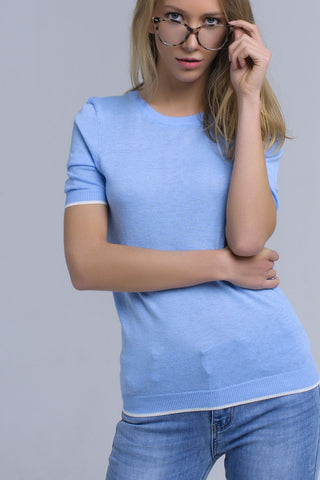 Blue Crew Neck Short Sleeve Sweater