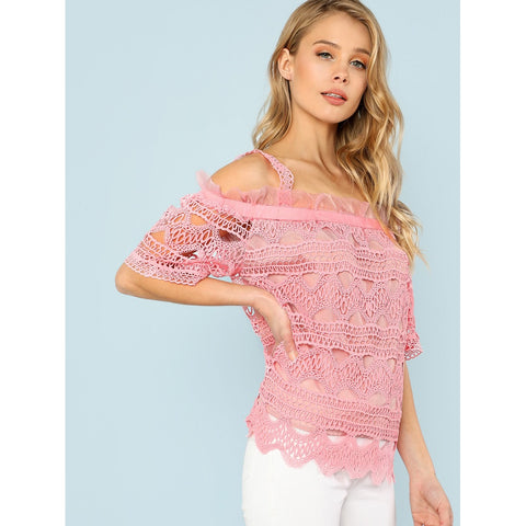 Pink Open Shoulder Frill Trim Lace Top