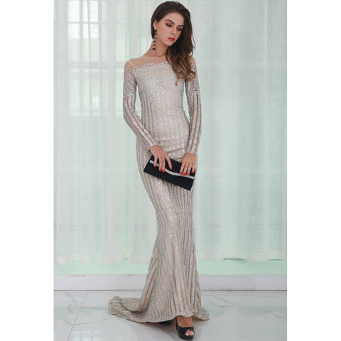 Bridal Dresses - Women's Trendy Silver Off Shoulder Dress