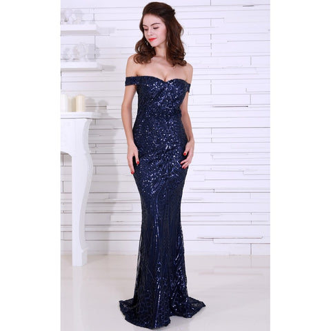 Bridal Dresses - Women's Trendy Navy Blue Sequin Cocktail Dress