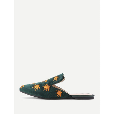 Insect Embroidery Flat Mules - Fashiontage