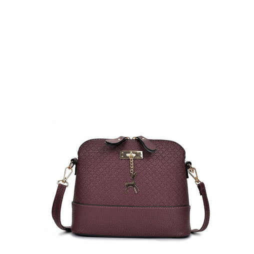 Burgundy Metal Detail Double Zipper Pu Shoulder Bag