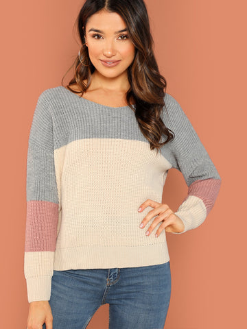 Multicolor Two Tone Colorblock Pullover Knit Sweater