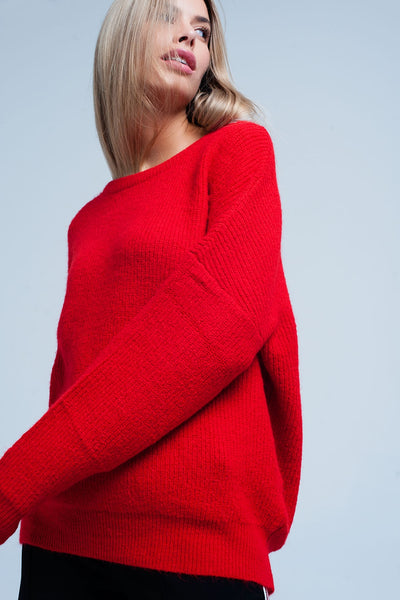 Red Boat Neck Knit Sweater