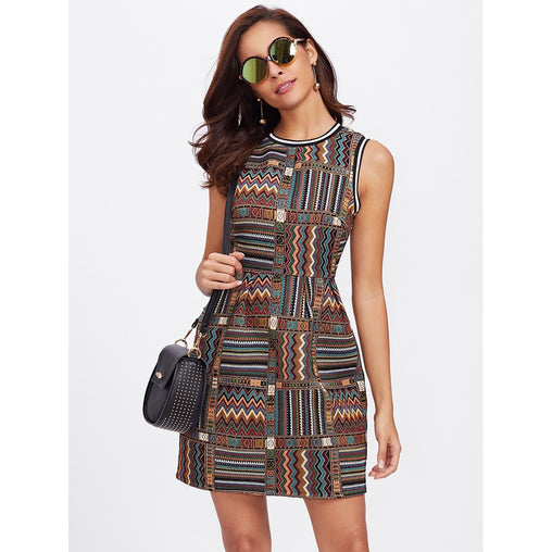 Multicolor Striped Trim Tribal Embroidered Sheath Dress