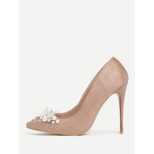 Faux Pearl Pointed Toe Stiletto Heels - Fashiontage