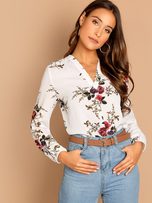 White V Neck Floral Print Top