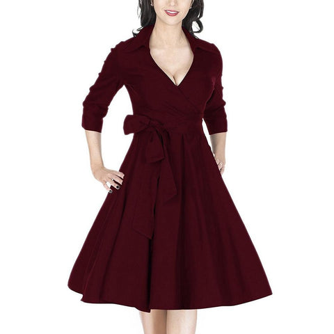Day Dresses - Women's Trendy Black V-Neck 3/4 Sleeve Length Swing Dress