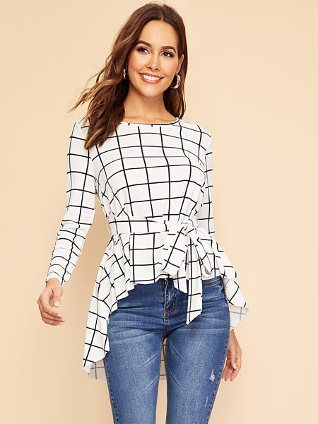 White Asymmetrical Hem Grid Top