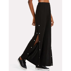 Snap Button Side Wide Leg Pants - Fashiontage