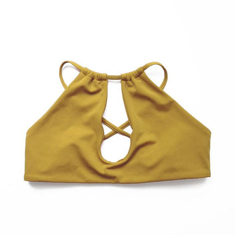 Mustard Sporty Keyhole Swimsuit
