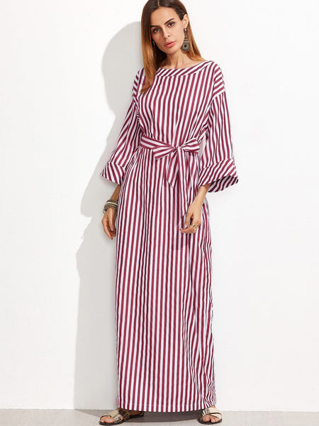 Burgundy Striped Boat Neck Maxi Dress