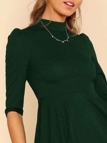 Casual Dresses - Women's Trendy Mock Neck Fit Flare Dress
