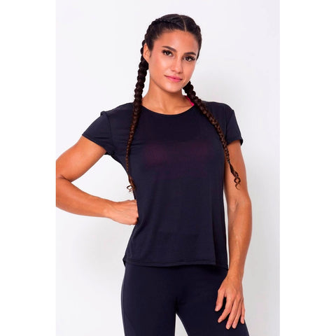 Black Relaxed Paneled Sports Bra