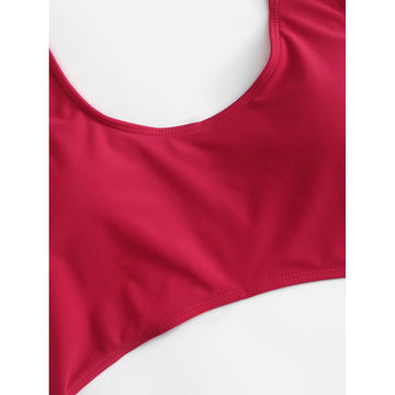 Red Plain Swimsuit - Fashiontage