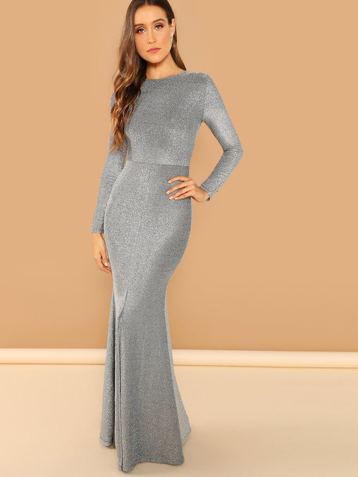 Solid Split Hem Maxi Dress