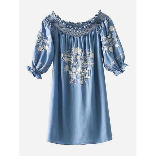 Frill Trim Embroidery Dress - Fashiontage